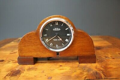 Jaeger Car Clock Chronos Works in Wooden Mantle Clock Style Vintage Classic