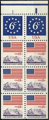 USA Sc. 1893a 18c Flag & Anthem 1981 MNH booklet pane of 8