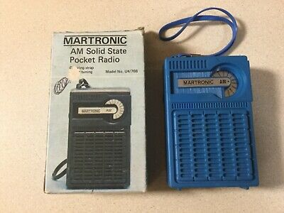 Vintage Martronic Solid State Transistor Working Radio 9 V Bat In Original Box