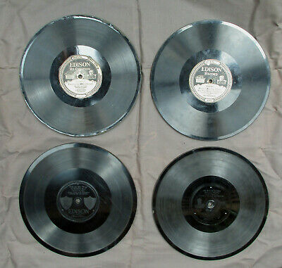 Lot of 4 Edison Diamond Disc Records - 2 with Etched Engraved Labels