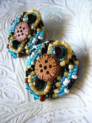 OOAK Hand Sewn with Crystal Carved Coconut Flower Bead Button Earrings