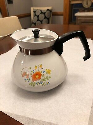 Vintage Corelle Corning Ware Wildflower Teapot Kettle Tea Pot 6 cup P-104 Clean!