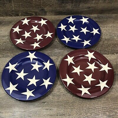 Laurie Gates Luncheon Salad Plates Patriotic Flag Blue Red White Stars America