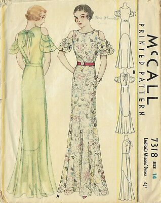 McCall 7318: 1930s Rare Designer Evening Gown Sz 32 Bust Vintage Sewing Pattern