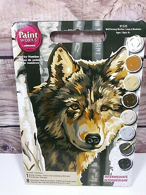 """Paint WORKS by Dimensions Paint By Number """"Wolf Among Birches"""" #91325 ~ 2007"""