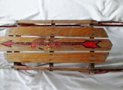 "Vintage Antique FLEXIBLE FLYER 46"" PLANET JR. Snow Sled Wood Winter USA Rustic R"