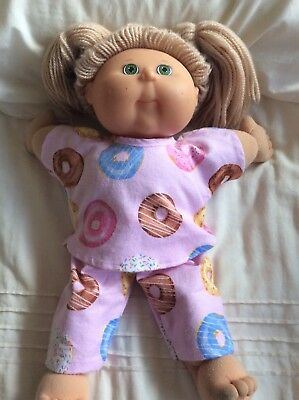 """DOLLS CLOTHES fit 16"""" CABBAGE PATCH DOLL - Pyjamas. Pink  Donuts"""