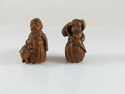 "Miniature Hand Carved Wood Peasant Man & Woman 1"" high In the Style of German"