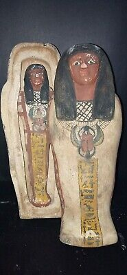 Rare ANCIENT Large Egyptian Royal Wooden coffin antique Burial priest hieroglyph