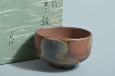 T2526: Japanese Bizen-ware Youhen pattern TEA BOWL Green tea tool Tea Ceremony
