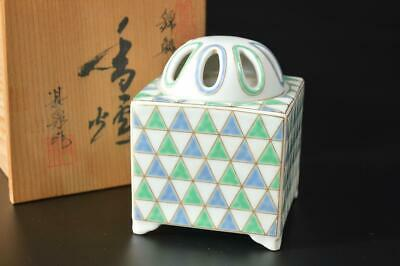 T6598: Japanese Arita-ware Colored porcelain INCENSE BURNER w/signed box