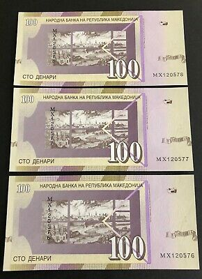 3x MACEDONIA 100 DINARA 2009 BANK NOTE P16J - consec UNC