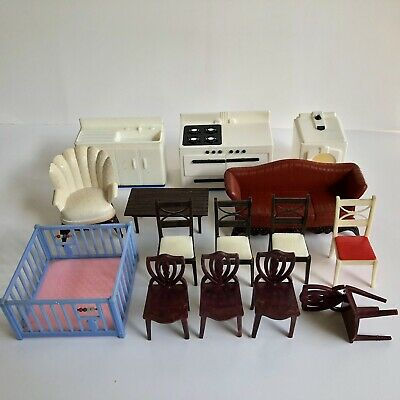 Vintage Doll House Furniture Lot Renwal Ideal Marx Toy Chairs Sofa Kitchen