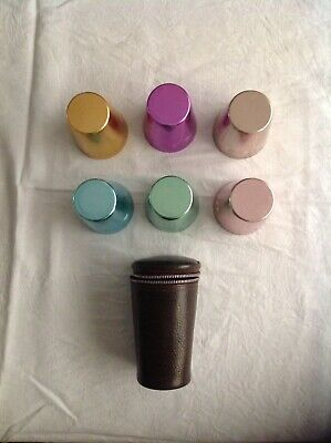 Vintage retro Set of 6 Anodised Aluminium Picnic/Travel cups In Case