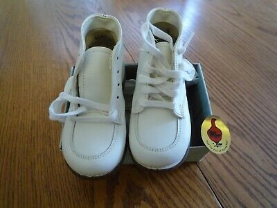 Unused Vintage Red Goose 8411 White Leather Toppy Toddler Shoes/ Boots Size 5