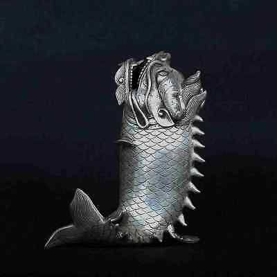 chinese old copper plating silver Hand-Carved Fish Shape Incense Burner  e02
