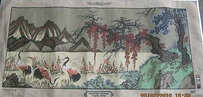 Cranes/Storks Mountains Tree Tapestry Canvas  Made In France. 65 X 130Cm