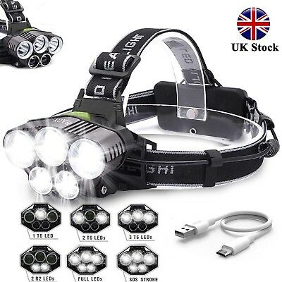 90000LM 5X T6 LED Headlamp Rechargeable Headlight Lights Flashlight Head Torch