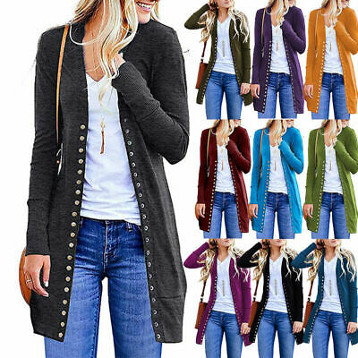 UK Women Autumn Blouse Long Sleeve Casual Button Cardigan Ladies Coat Jacket Top