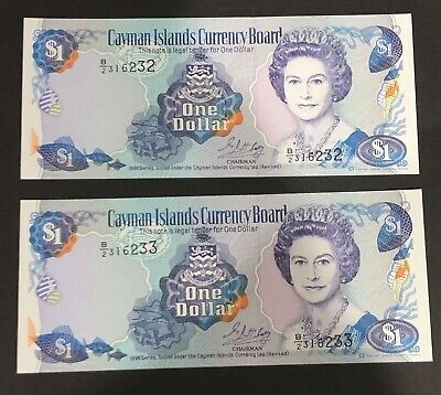2x Cayman Islands 1 Dollar 1996 Unc bank notes. One Dollar. P16b. Consec numbers