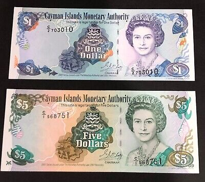 2x Cayman Islands 1 dollar and 5 dollar bank notes. UNC 2001. P26a and P27a.