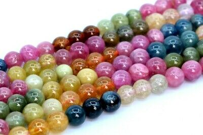 4MM Genuine Natural Multicolor Tourmaline Beads Grade AAA Round Loose Bead 15.5""