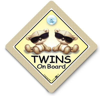 Twins On Board Car Sign, SUNGLASSES Twins ,Baby On Board Sign, Suction Cup Sign