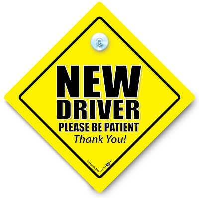 NEW DRIVER PLEASE BE BE PATIENT Car Sign, Suction Cup Car Sign, Elderly Driver