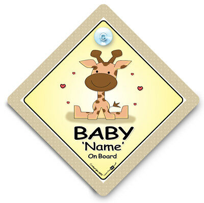 Personalised Giraffe Baby On Board Car Sign, NEW, Customised Baby On Board Sign