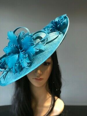 SUZANNE BETTLEY TEAL WEDDING  DISC FASCINATOR Mother Of The Bride Hat