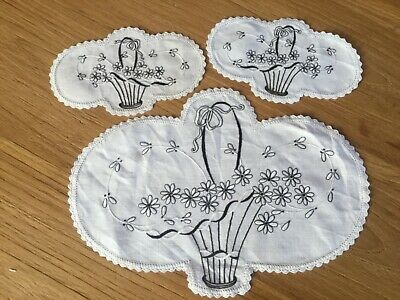 Hand embroidered Duchess Set - Basket of flowers