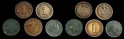 Germany - Lot of 5 different 1 Pfennig