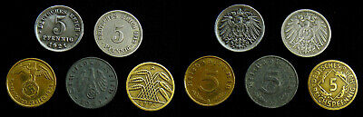 Germany - Lot of 5 different 5 Pfennig