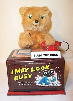 NICE 1950's LINEMAR TELEPHONE BEAR BATTERY OPERATED TIN LITHO TOY JAPAN MARX