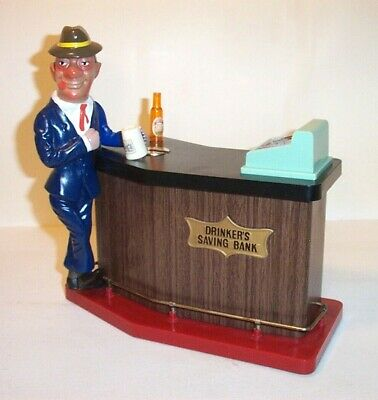 WORKING 1960's BATTERY OPERATED DRINKER'S SAVINGS BANK TIN LITHO BAR TOY JAPAN