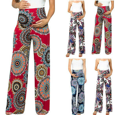 Women Pregnancy Floral Print High Waist Pants Belly Support Wide Legged Trousers