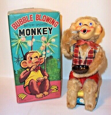 WORKING 1950's BATTERY OPERATED BUBBLE BLOWING MONKEY VINTAGE TIN LITHO TOY ALPS