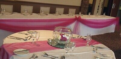 Wedding top table & Cake Table swags In Hot Pink Organza 10 & 3.5 Metres