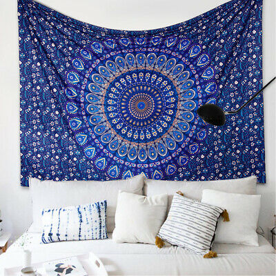 1.5Mx2M Indian Tapestry Large Wall Hanging Mandala Hippie Bedspread Throw Cover
