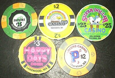 5 - Vintage / Old / Retired Casino Chips - 5 Casino CHIP LOT