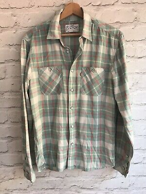 Levi Mens Size Small Check Flannel Vintage Shirt