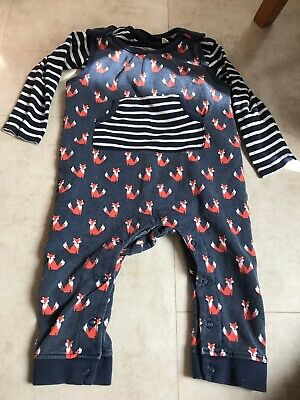 jojo maman bebe 12-18 months boys Fox Dungarees With Striped Top