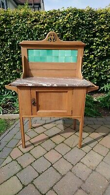 Antique Satinwood Victorian/Edwardian Marble Topped Wash Stand