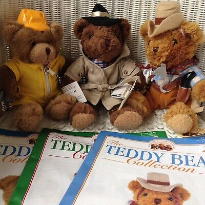 The Teddy Bear Collection - 3 Bears with Magazines - Collector / Gift