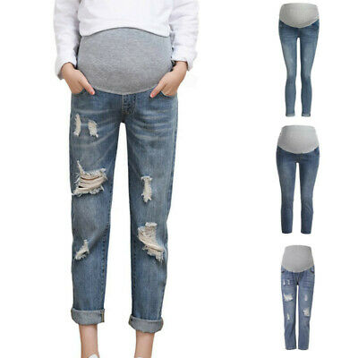 Pregnant Women Ripped Jeans Maternity Pencil Pants Trousers Prop Belly Legging