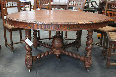 French antique Solid oak oval table 353 cm long