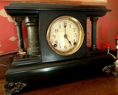 ANTIQUE AMERICAN SESSIONS CLOCK CO.BLACK MANTLE-PILLARS,CLAW FEET,WORKING.Spares