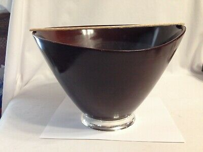 Fisher Solid Mahogany w Sterling Silver Base 12 Inch Salad Bowl Vintage