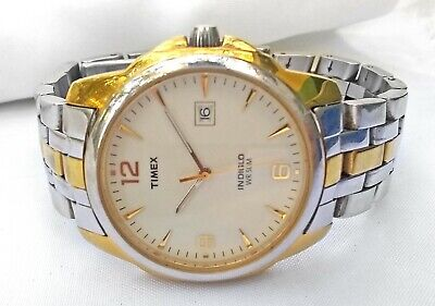 Timex Indiglo Quartz Date Watch Two Tone Nice Case Crown WR 50m 39mm Mens