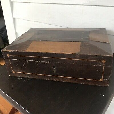 Antique Inlaid Panel Wooden Sewing Document Box Paper Mirror Victorian Wood